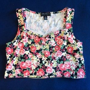 Forever 21+ Floral Crop Top - size 1X